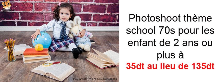 Photoshoot thème school 70s pour les enfant