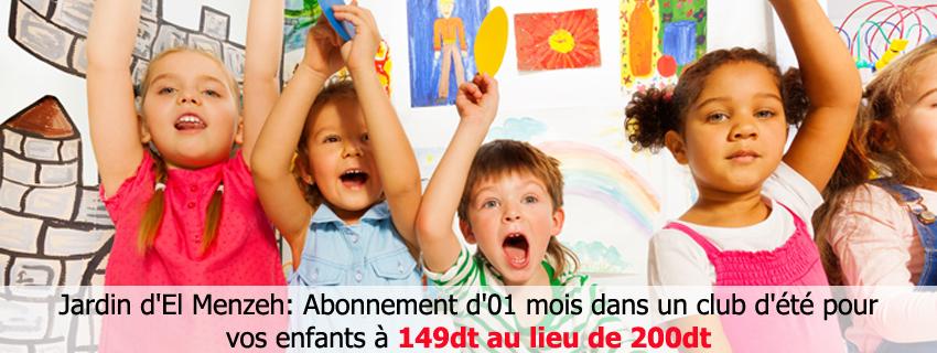 Abonnement d'01 mois dans un club d'été pour vos enfants à 149dt au lieu de 200dt